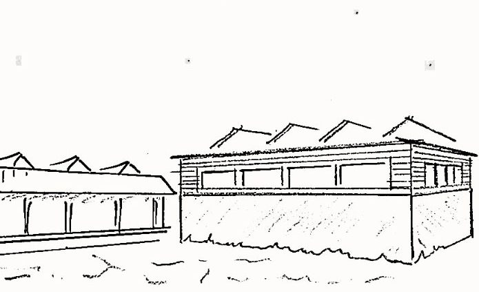 Ein-Feld-Halle Frickenhausen Sporthalle auf dem Berg Strichzeichnung